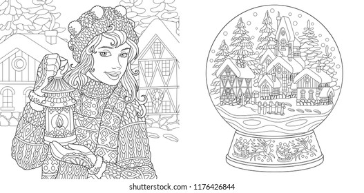 Coloring Pages. Coloring Book for adults. Colouring pictures with winter girl and magic snow ball. Antistress freehand sketch drawing with doodle and zentangle elements.