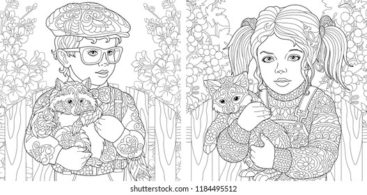 Coloring Pages. Coloring Book for adults. Colouring pictures with boy and girl embracing furry animals. Antistress freehand sketch drawing with doodle and zentangle elements.
