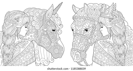 Coloring Pages. Coloring Book for adults. Colouring pictures with fantasy girl and unicorn horse drawn in zentangle style. Vector illustration.