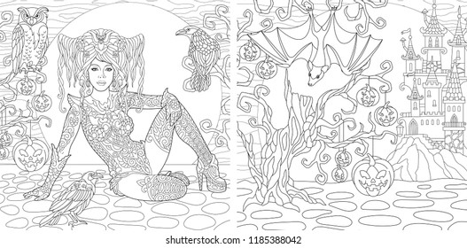 Coloring Pages. Coloring Book for adults. Colouring pictures with Halloween witch drawn in zentangle style. Vector illustration.