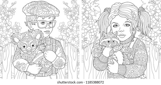 Coloring Pages. Coloring Book for adults. Colouring pictures with kids holding furry animals drawn in zentangle style. Vector illustration.