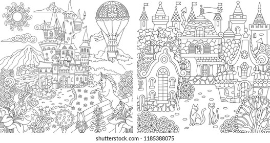 Coloring Pages Book For Adults Colouring Pictures With Fantasy Castles And Houses Drawn