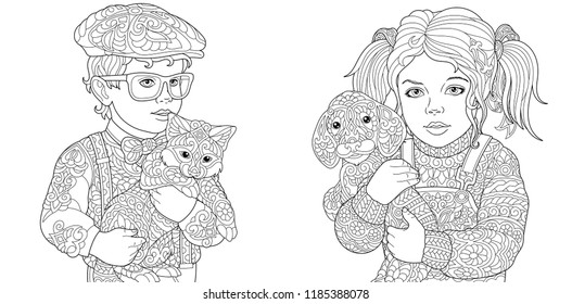 Coloring Pages Coloring Book Adults Colouring Stock Vector Royalty