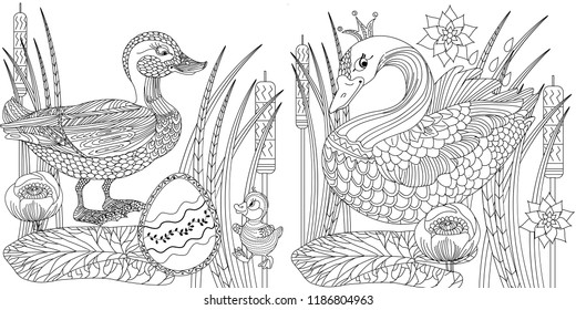 Coloring Pages. Coloring Book for adults. Colouring pictures with duck and swan. Antistress freehand sketch drawing with doodle and zentangle elements.