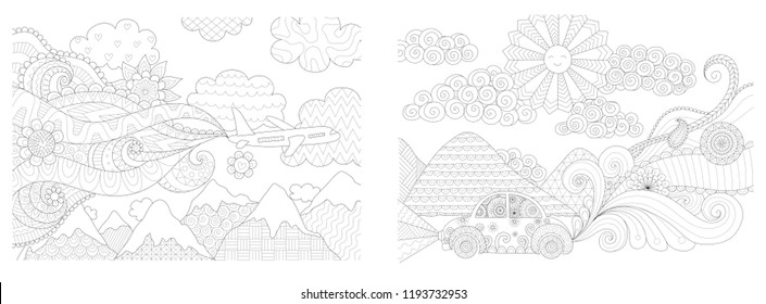 Coloring Pages. Coloring Book for adults. Colouring pictures collection of travelling by plane and car. Antistress freehand sketch drawing with doodle and zentangle elements.