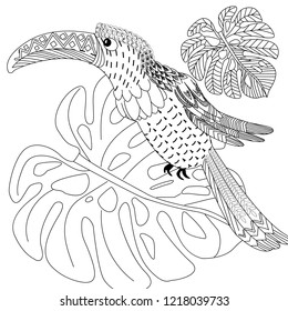 Coloring Pages. Coloring Book for adults. Colouring pictures with bird. Antistress freehand sketch drawing with doodle and zentangle elements.