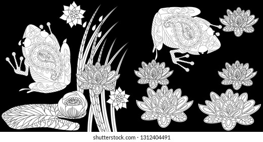 Coloring Pages. Coloring Book for adults. Colouring pictures with frog and lotus, lily flowers. Antistress freehand sketch drawing with doodle and zentangle element