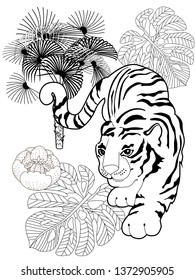 Coloring Pages. Coloring Book for adults. Colouring pictures with tiger and palm tree. Antistress freehand sketch drawing with doodle and zentangle elements.