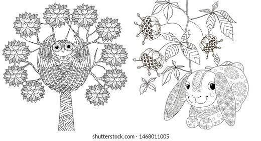 Coloring Pages. Coloring Book for adults. Colouring pictures with rabbit and owl. Antistress  sketch drawing with doodle and zentangle element