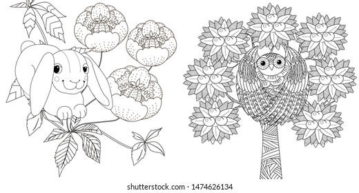Coloring Pages. Coloring Book for adults. Colouring pictures with rabbit and owl. Antistress freehand sketch drawing with doodle and zentangle element