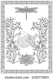 Coloring Pages. Coloring Book for adults. Colouring pictures with birds and flowers. Antistress freehand sketch drawing with doodle and zentangle elements.