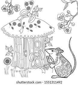 Coloring Pages. Coloring Book for adults. Colouring pictures with rat and lodge. Antistress freehand sketch drawing with doodle and zentangle elements.