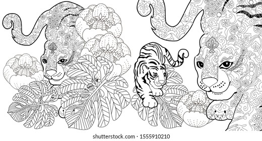 Coloring Pages. Coloring Book for adults. Colouring pictures with tigers and flowers. Antistress freehand sketch drawing with doodle and zentangle elements.