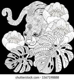 Coloring Pages. Coloring Book for adults. Colouring pictures with tiger and flowers. Antistress freehand sketch drawing with doodle and zentangle elements.