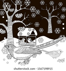 Coloring Pages. Coloring Book for adults. Colouring pictures with birds. Antistress freehand sketch drawing with doodle and zentangle elements.