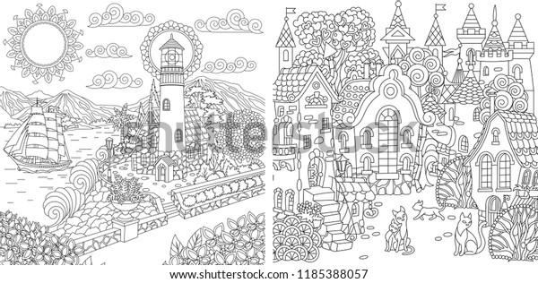 Coloring Pages Coloring Book Adults Colouring Stock Vector (Royalty ...