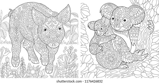 Coloring Pages Book For Adults Cute Pig