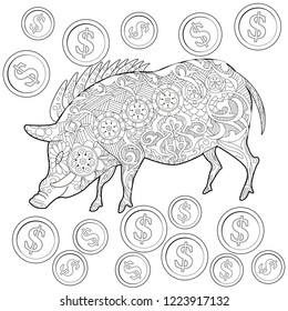Coloring Pages. Coloring Book for adults. Cute Pig - 2019 Chinese New Year symbol. Antistress freehand sketch drawing with doodle and zentangle elements.