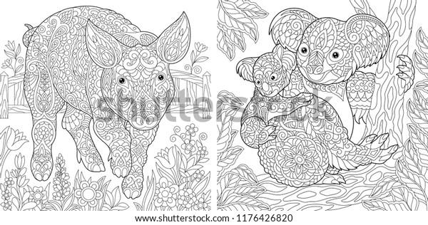 Farbseiten Farbbuch Fur Erwachsene Cute Pig Stock Vektorgrafik Lizenzfrei 1176426820