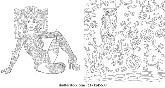 Coloring Pages. Coloring Book for adults. Halloween girl. Horror background with pumpkins and owl. Antistress freehand sketch drawing with doodle and zentangle elements.