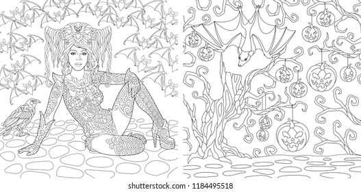 coloring pages book adults halloween 260nw