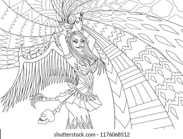 Coloring Pages. Coloring Book for adults. Woman in Hallween costume with power.Antistress freehand sketch drawing with doodle and zentangle elements. Vector illustration
