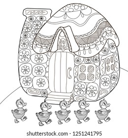 Coloring Pages. Coloring Book for children and adults. Colouring pictures with hous. Antistress freehand sketch drawing with doodle and zentangle elements.