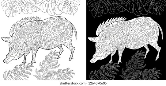 Coloring Pages. Coloring Book for children and adults. Cute Pig - 2019 Chinese New Year symbol. Antistress freehand sketch drawing with doodle and zentangle elements.