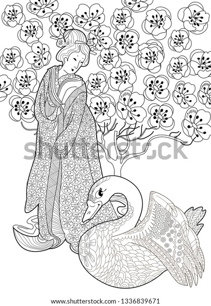 Japanese Girl in Kimono coloring page | Free Printable Coloring Pages | 620x428