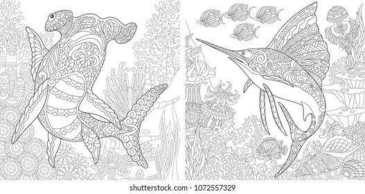 Coloring Pages. Coloring Book. Underwater Ocean world. Hammerhead shark, sailfish and shoal of tropical fishes. Antistress freehand sketch drawing. Vector illustrations.