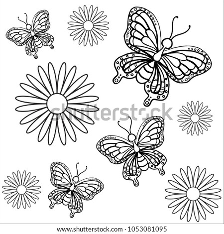 Coloring Pages Butterfly Flowers Stock Vector (Royalty Free ...