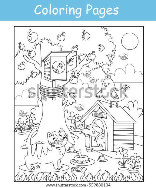 Coloring Pages Cat Dog Birds Stock Vector Royalty Free 559880104