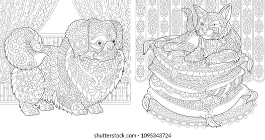Coloring Pages. Cat on pillows. Pekingese or Japanese Chin Dog. Adult Coloring Book idea. Antistress freehand sketch drawing with doodle and zentangle elements. Vector illustration.