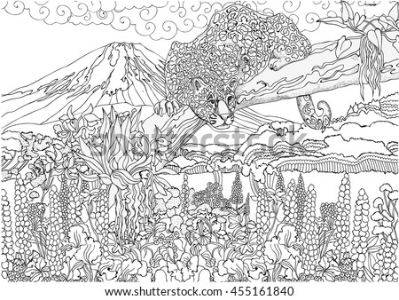 coloring pages cheetah on background japanese stock vector royalty