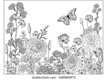 Coloring pages for children and adults.Blooming garden illustration hand drawing