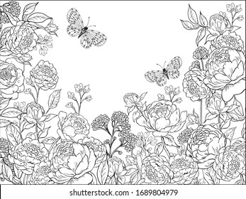 Coloring pages for children and adults.hand drawn flowers roses and butterflies