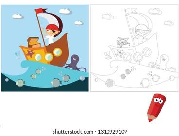 Coloring pages for children. Coloring book. Children's puzzles. Educational game for children.  Boy pirate found treasures.