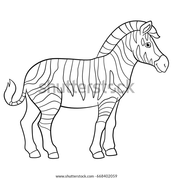 Coloring Pages Cute Beautiful Zebra Stands Stock Vector Royalty Free 668402059