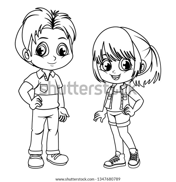 Coloring Pages Cute Cartoon Boy Girl Stock Vector (Royalty Free ...