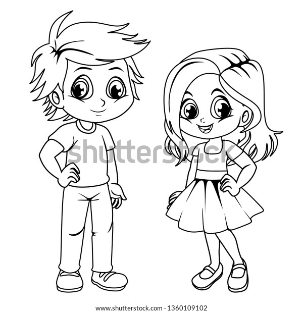 Coloring Sheets For Boys And Girls Coloring Pages Cute Cartoon Boy Girl Stock Vector Royalty