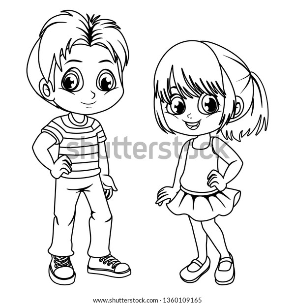 Coloring Pages Cute Cartoon Boy Girl Stock Vector Royalty Free