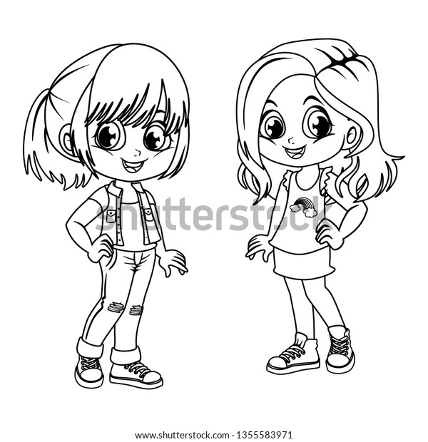 Coloring Pages Cute Cartoon Girls Beautiful Stock Vector (Royalty ...