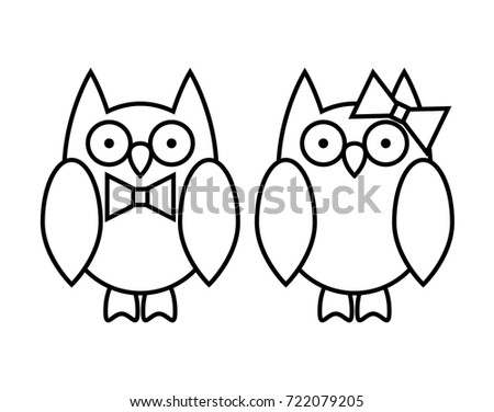 Coloring Pages Cute Cartoon Owl Couple Stock Vector Royalty Free