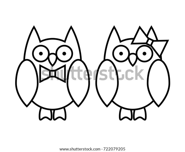 Coloring Pages Cute Cartoon Owl Couple Stock Vector (Royalty ...