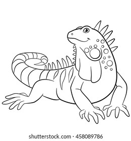 Coloring pages. Cute iguana sits and smiles.