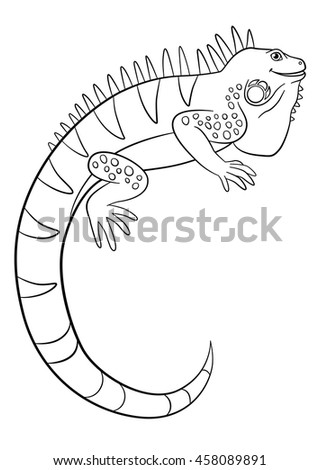 Coloring Pages Cute Iguana Sits Smiles Stock Vector (Royalty Free ...