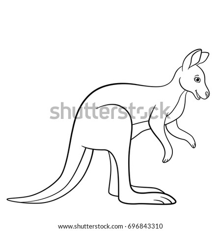 Coloring Pages Cute Kangaroo Stands Smiles Stock Vector Royalty