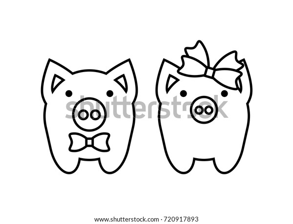 Coloring Pages Cute Pigs Couple Boy Stock Vector (Royalty ...