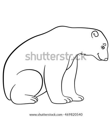 Coloring Pages Cute Polar Bear Sits Stock Vector Royalty Free