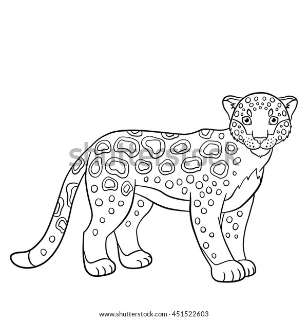 Coloring Pages Cute Spotted Jaguar Stands Stock Vector Royalty Free 451522603